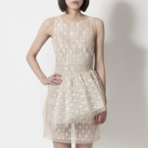 3939 Shop London | Unique product and art simone rocha, nude net & lace frill dress