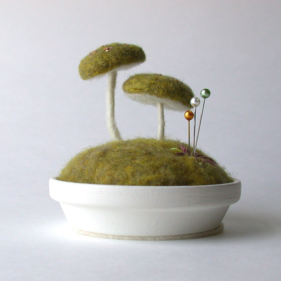 Mossy Floral Mushrooms Pincushion Scene Made To by FoxtailCreek