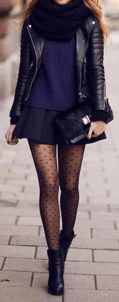╬Street Fashion╬ / Love Everything from the Infinity Scarf to the Heart Tights ♥