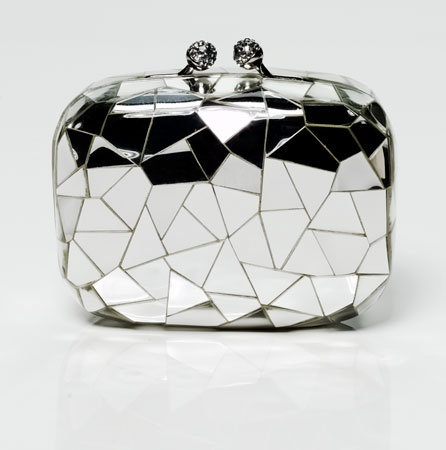 Kotur Cracked Mirror Clutch via Vogue - wild violet