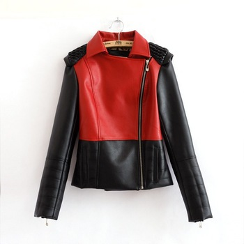 Free Ship Hot Selling New PU Leather Jacket red white blue Stitching Windcoat Overcoat Sleeve Patchwork Coat Plus Size-in Leather & Suede from Apparel & Accessories on Aliexpress.com