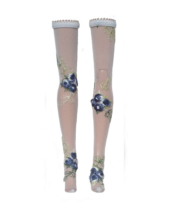 Blue Embroidered flower Doll Stockings for by thedaughterwhosews