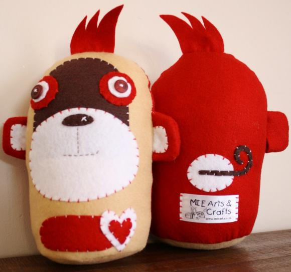 BOObeloobie Mango The Monkey In Red, Chocolate Brown, Cream And White Accents | Luulla