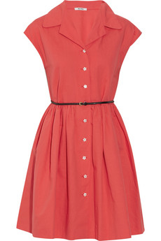 Miu Miu?|?Belted cotton and linen-blend shirt dress?|?NET-A-PORTER.COM