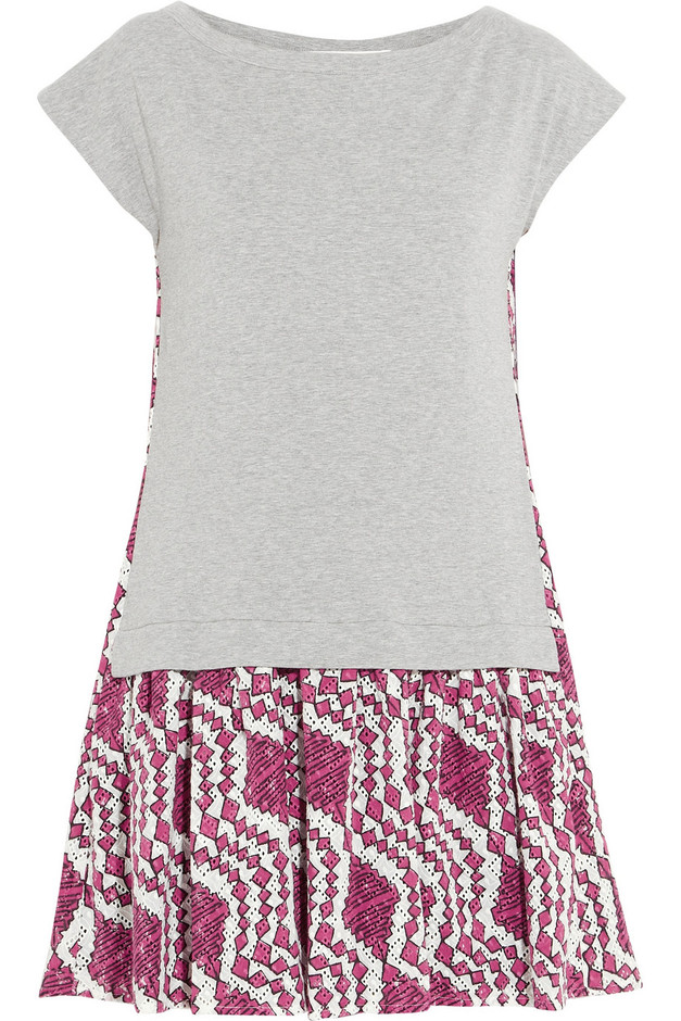 Thakoon Addition|Broderie anglaise cotton and jersey mini dress|NET-A-PORTER.COM