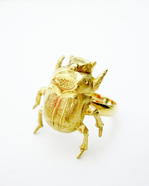 Scarab Beetle Ring  Gold by DoodleBirdie on Etsy
