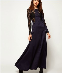 lulula-fashion shopping mall — [gryxh3600513]sexy Black lace blue satin backless splicing long sleeve dress skirt