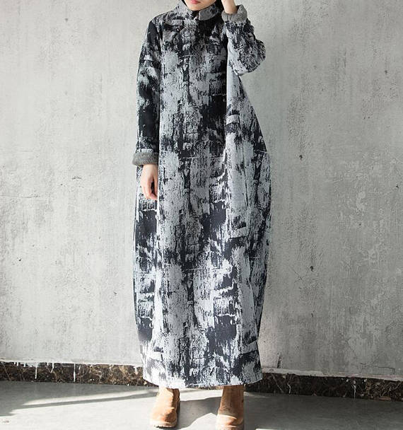 Loose winter Long Maxi Dress Cotton and linen long pullover