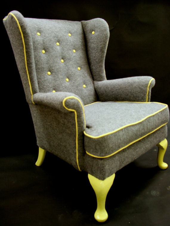 Cedrick Wing back arm chair in grey boiled wool by katepritchard
