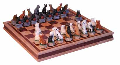 Cat and dogs chess sets