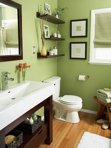 For the house / Green and Brown Bathroom