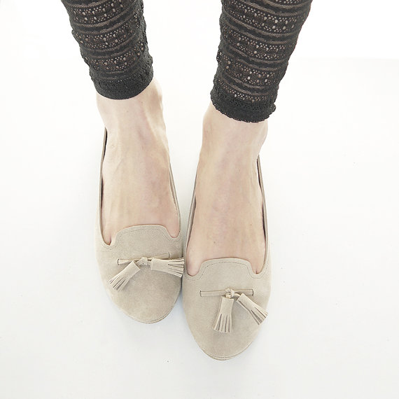 The Monochrome Loafers Shoes Handmade Sand Soft by elehandmade