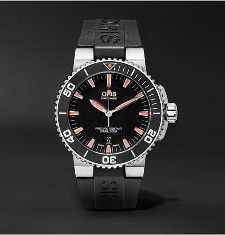 Oris - Aquis Date Stainless Steel and Rubber Divers Watch