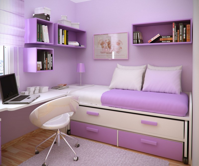 Bedroom Designs: Fabulous Purple White Storage Bed Desk Small Bedroom Ideas, Modern Contemporary Look, Antique Chandelier ~ Ozvip.com