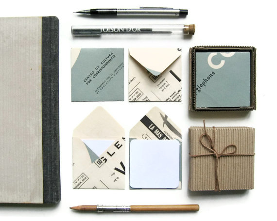 Mini Stationery Set 12 White Cards with 12 Vintage Paper by Ciaffi