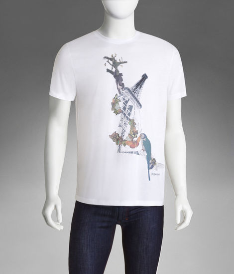 Short Sleeve YSL Paris T-Shirt in White Cotton Jersey - T-Shirts - Ready-To-Wear - Men - Yves Saint Laurent - YSL