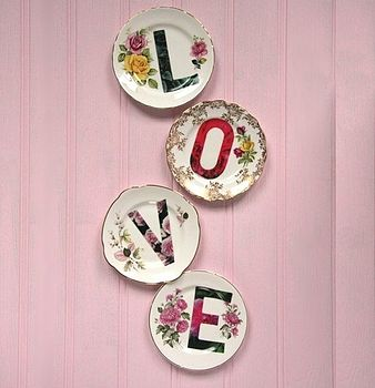 set of decorative vintage love plates by lou rota | notonthehighstreet.com