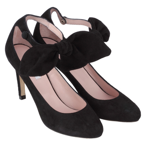 CARVEN VELVET LEATHER HEEL BOW SHOES/mirabella(ミラベラ)