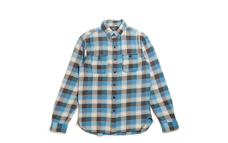 RRL/Plaid Twill Workshirt-Sulpur Black Blue