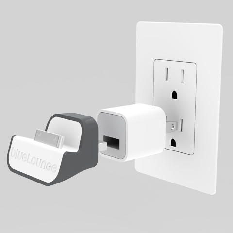Bluelounge - MiniDock: An iPhone wall dock adapter, compatible with Lightning connector