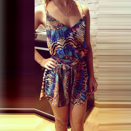 lulula-fashion shopping mall — [gzxy0934]Sexy Backless V-neck Floral Print Sling Jumpsuits