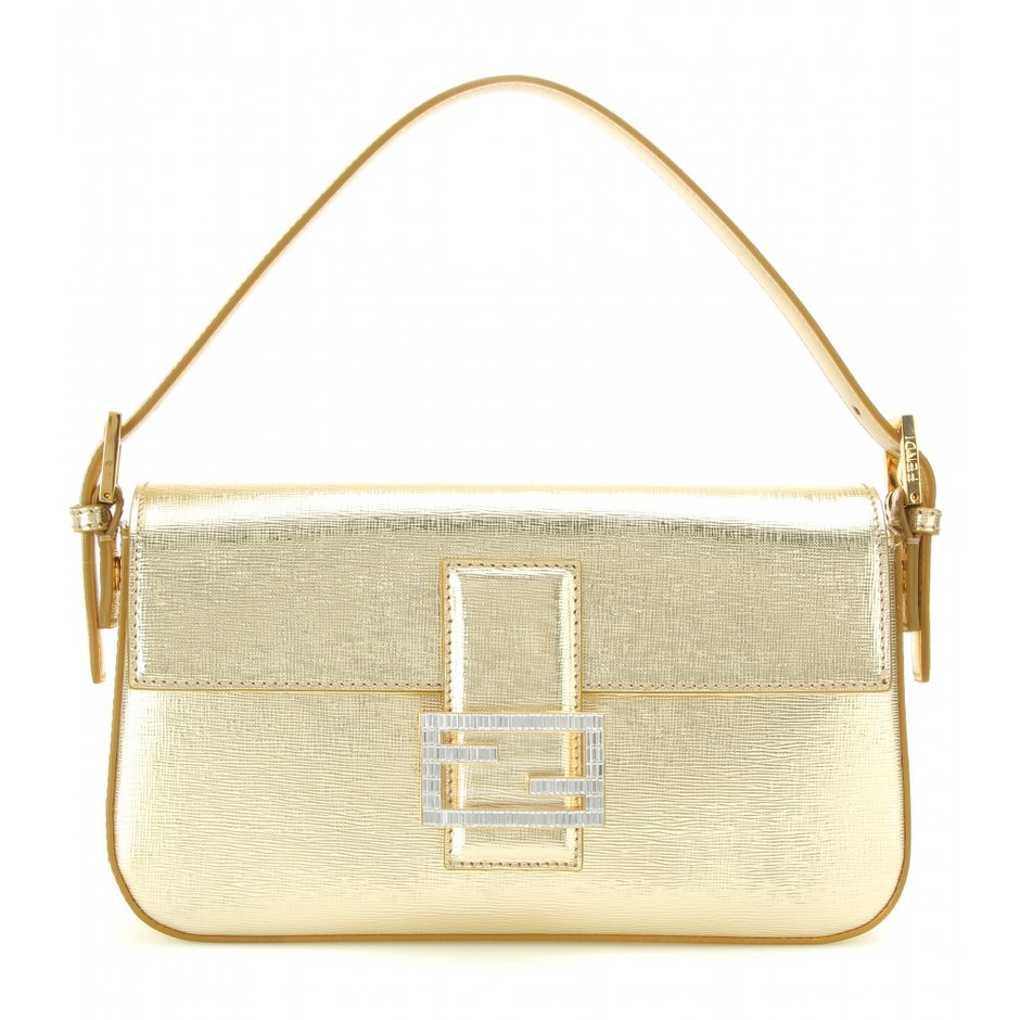 mytheresa.com - Baguette metallic leather shoulder bag - Shoulder bags - Bags - Fendi - Luxury Fashion for Women / Designer clothing, shoes, bags