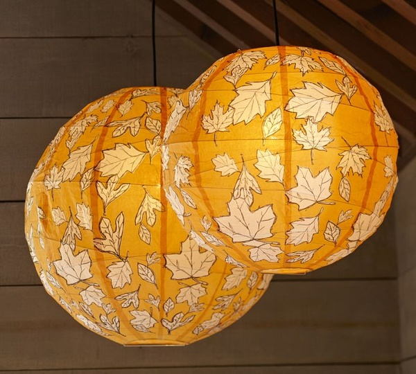 pottery barn leaf paper lantern luminaries sumally