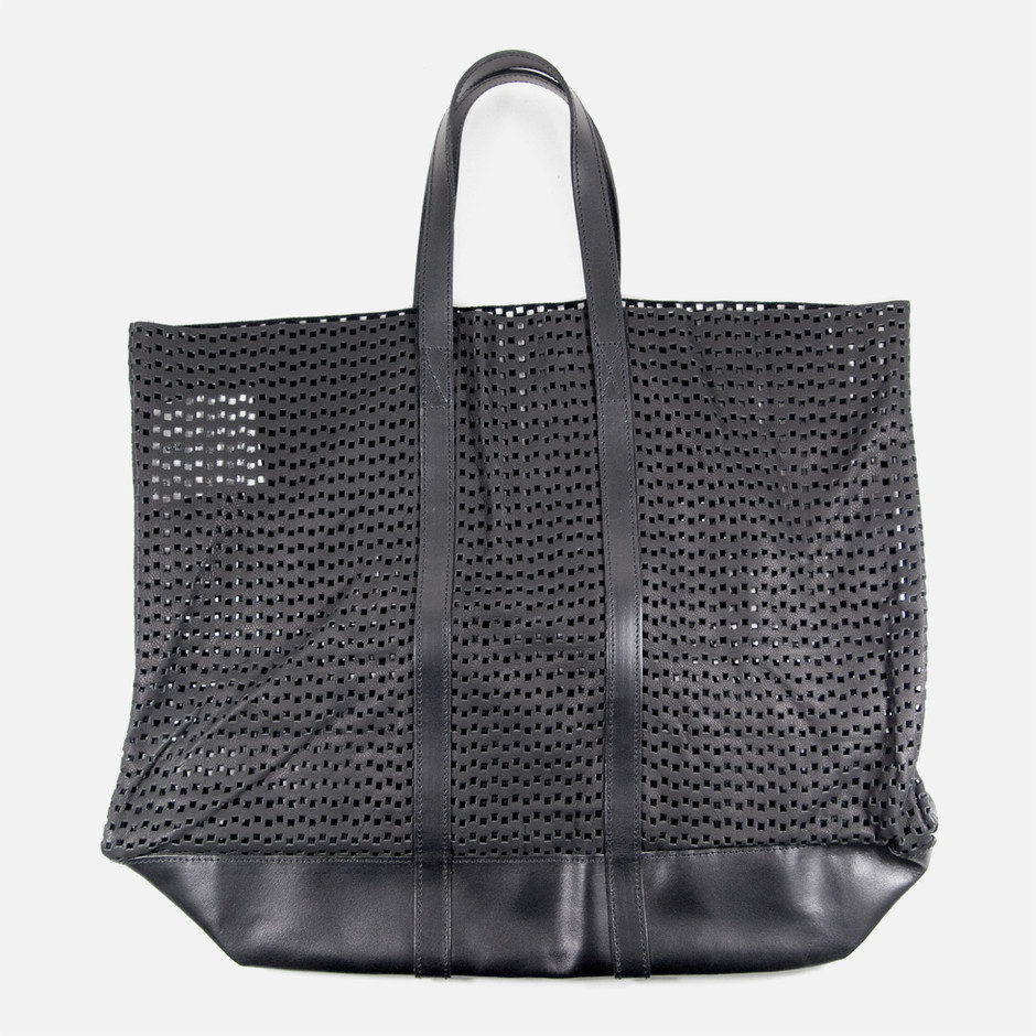 Black Perforated Leather Tote Bag | CDG CDG | NUMBER 3