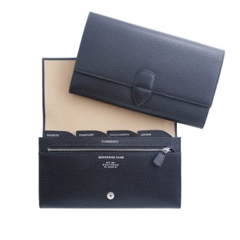 Travel Wallet, Black Pigskin Collection, Leather Goods, Smythson