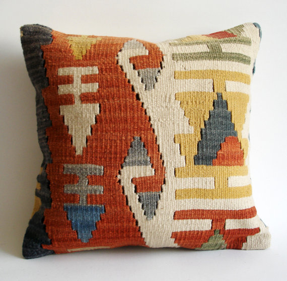Sukan / SOFT Handwoven Vintage Turkish Kilim Pillow Cover by sukan
