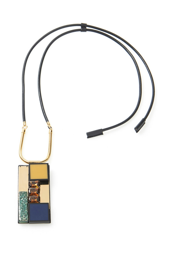Leather Covered Necklace With Stone Pendant by Marni - Moda Operandi