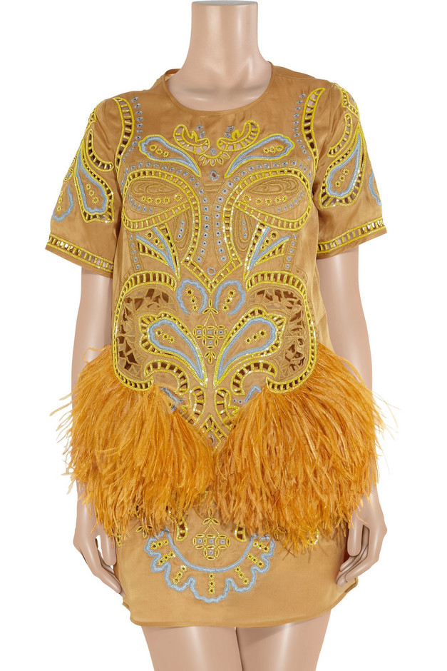 Matthew Williamson Embroidered feather-trimmed silk-organza dress - 65% Off Now at THE OUTNET