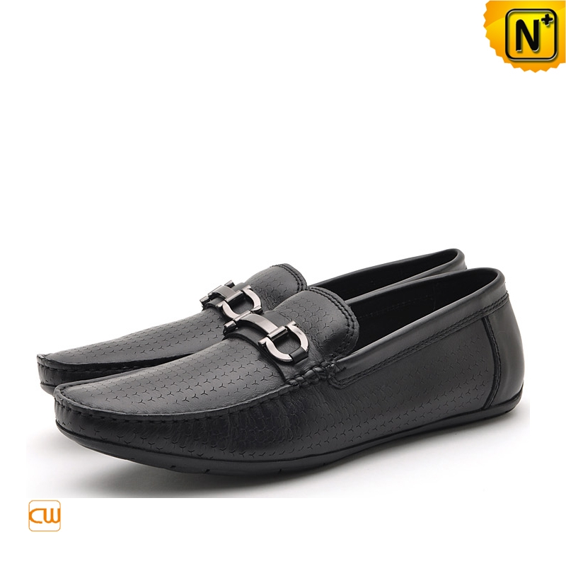 Mens Black Embossed Leather Loafers Driving Shoes CW712395 | CWMALLS