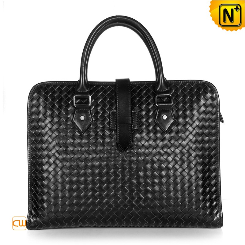 Amazon.com: Cwmalls Men's Handmade Woven Leather Briefcase Black (Black): Clothing
