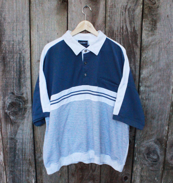 Vintage 1990s 90s Blue/Heather Gray 3-Button by VintageMensGoods