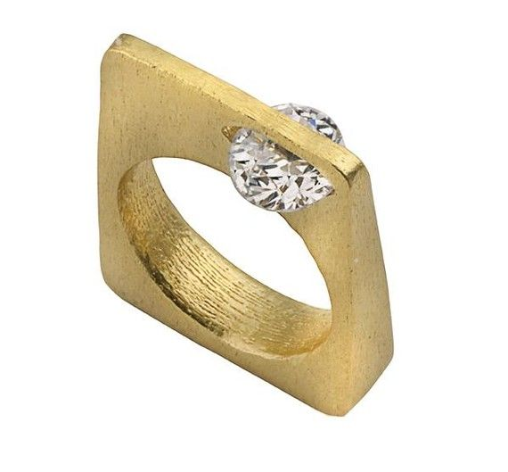 Rings / Side Stone Gold Ring by leebonkboutique on Etsy