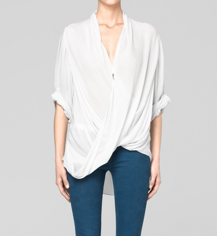 White Silk Top - Helmut Lang White Silk Top