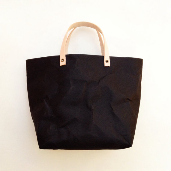 BLACK Kraft fabric paper tote lunch bag by Belltastudio on Etsy