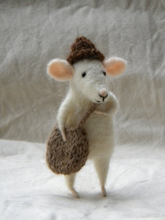My dear Little mouse with bag and hat needle by feltingdreams