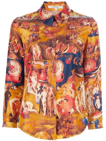 Carven Middle Ages Print Shirt in Orange | Lyst