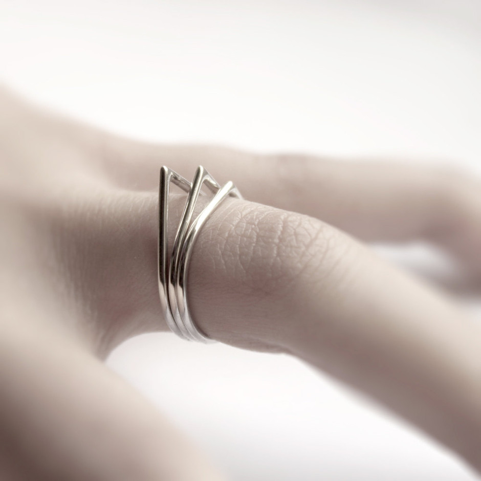 Thorns three sterling silver stacking rings by andrea0503 on Etsy