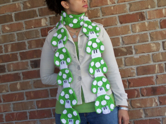 Custom 1UP Mushroom Crochet Scarf Diy Mario Bros by UrbanPrincess