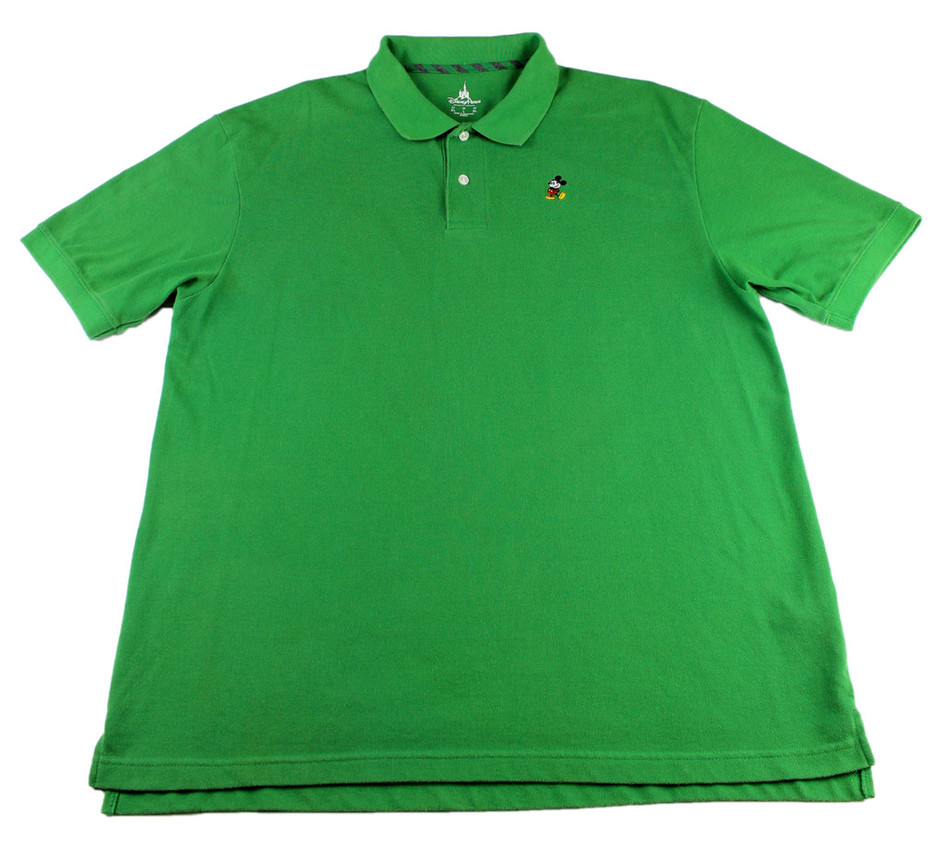 Disney Parks Embroidered Mickey Mouse Green Polo Shirt | Vintage Mens Goods