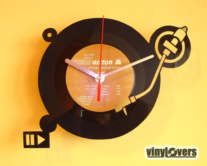 turntable dj handmade wall clock from vinyl record by VinyLovers