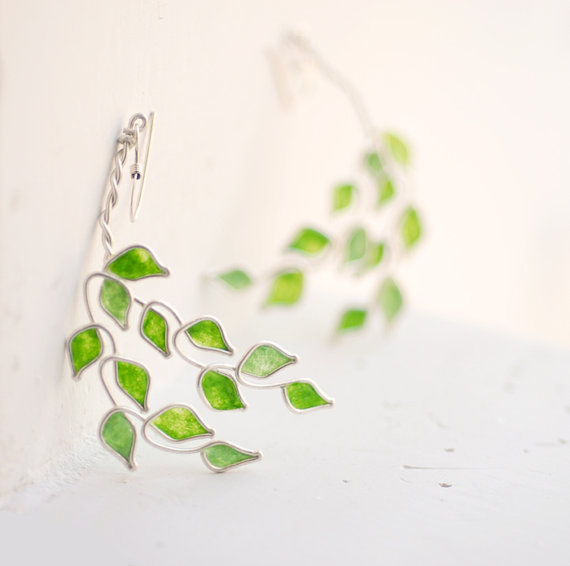 Lime Grove Tree Dangle Earrings Sterling Silver by TaylorsEclectic