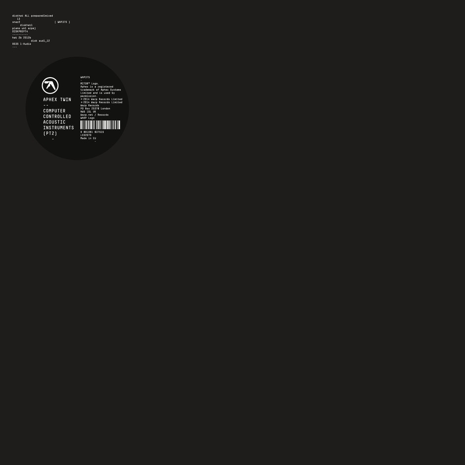 Warp / Records / Releases / Aphex Twin / Computer Controlled Acoustic Instruments pt2 EP
