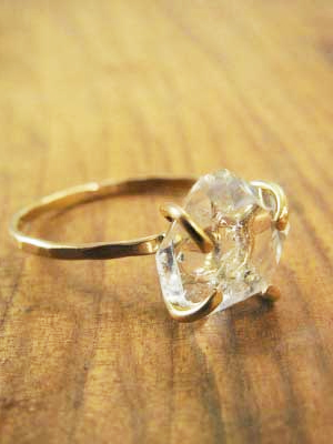 Melissa Joy Manning: Herkimer Diamond Solitaire Ring - 14k Gold
