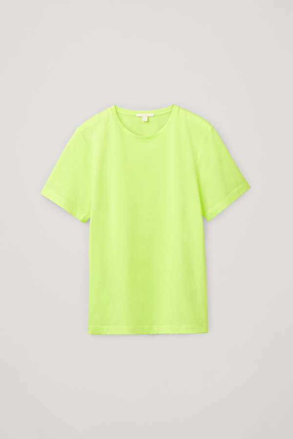 COTTON-JERSEY ROUND-NECK T-SHIRT - Bright Yellow - T-shirts - COS WW