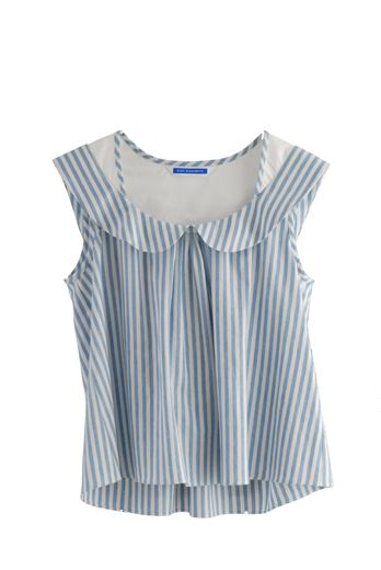 Tops - HSS12 CHAMBRAY STRIPE PETER PAN TOP - BLUE - Eley Kishimoto Online Shop