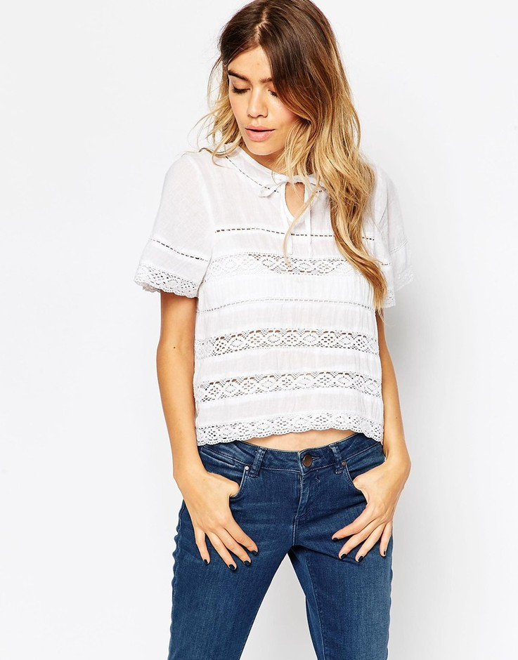 ASOS | ASOS Pretty Top With Lace Inserts at ASOS